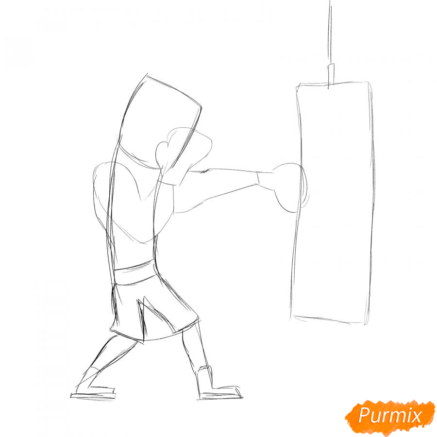 Рисуем боксера с грушей - шаг 2