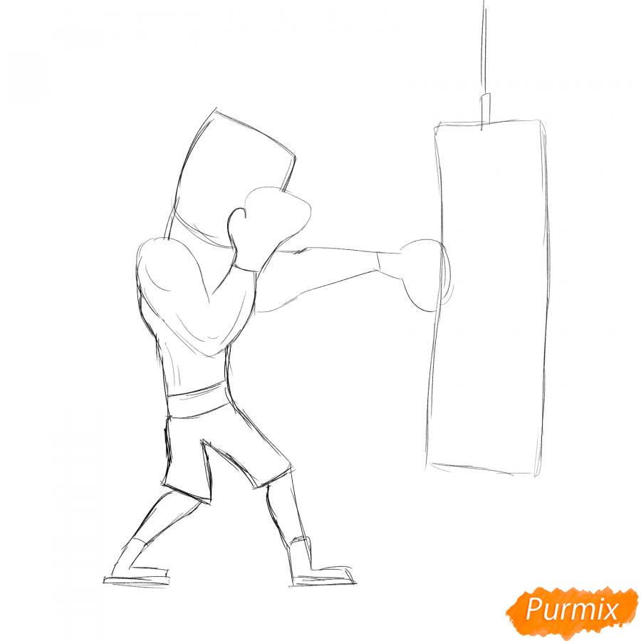 Рисуем боксера с грушей - шаг 3