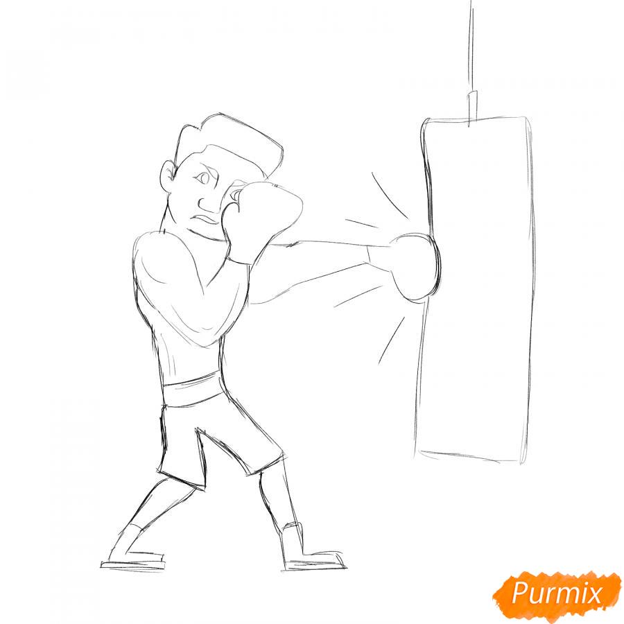 Рисуем боксера с грушей - шаг 4