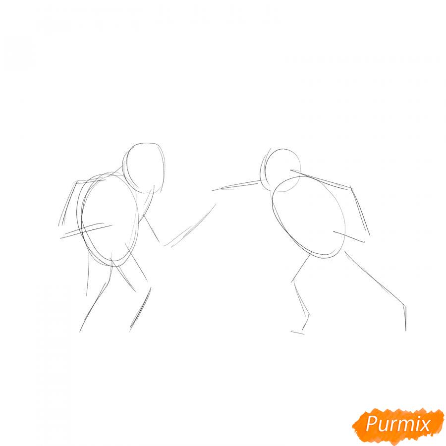 Рисуем двоих боксеров на ринге - шаг 1
