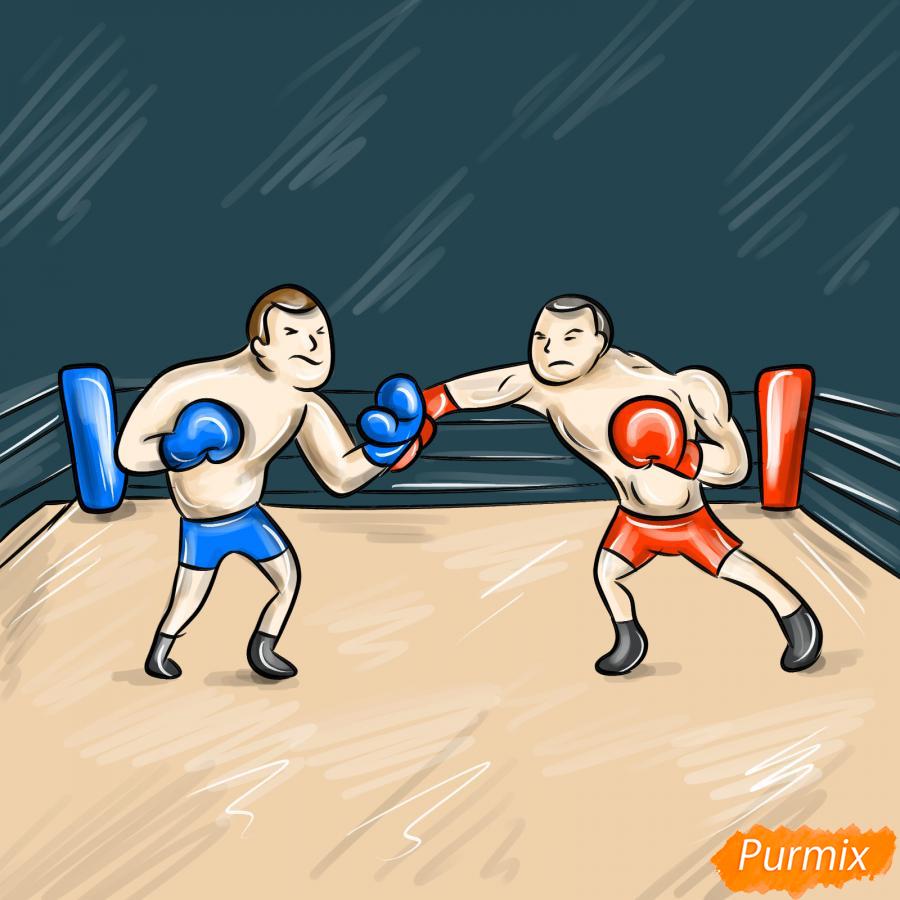 Рисуем двоих боксеров на ринге - шаг 10