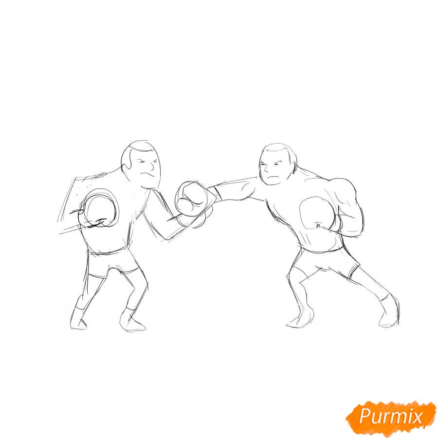 Рисуем двоих боксеров на ринге - шаг 3