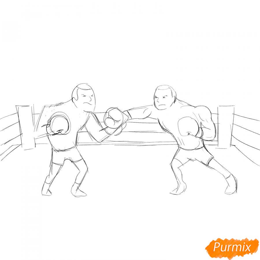 Рисуем двоих боксеров на ринге - шаг 4