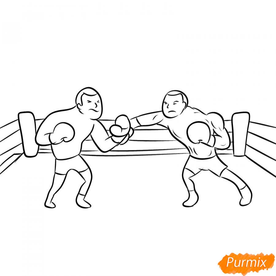 Рисуем двоих боксеров на ринге - шаг 5