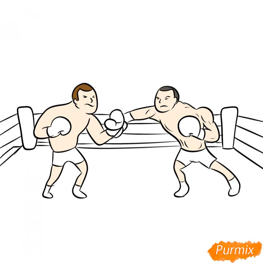 Рисуем двоих боксеров на ринге - шаг 6