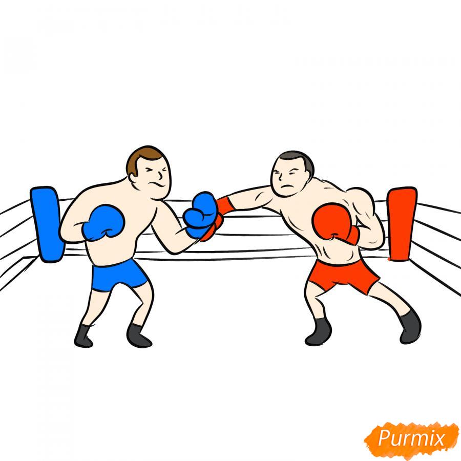 Рисуем двоих боксеров на ринге - шаг 7