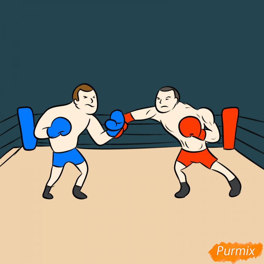 Рисуем двоих боксеров на ринге - шаг 8