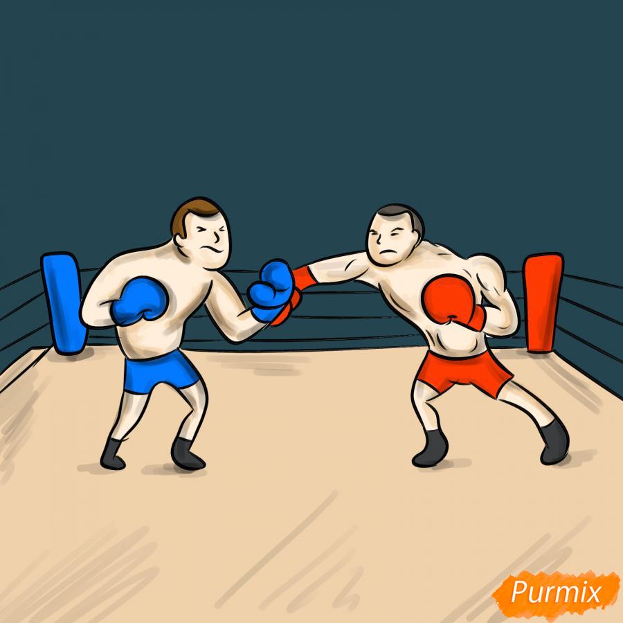 Рисуем двоих боксеров на ринге - шаг 9
