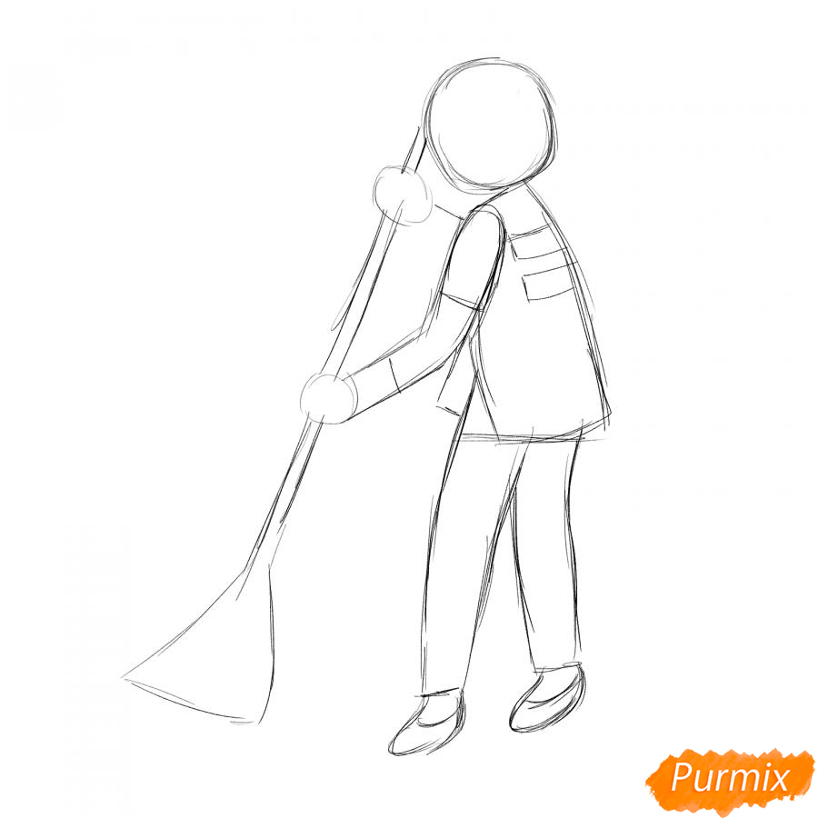 Рисуем дворника девушку - шаг 2
