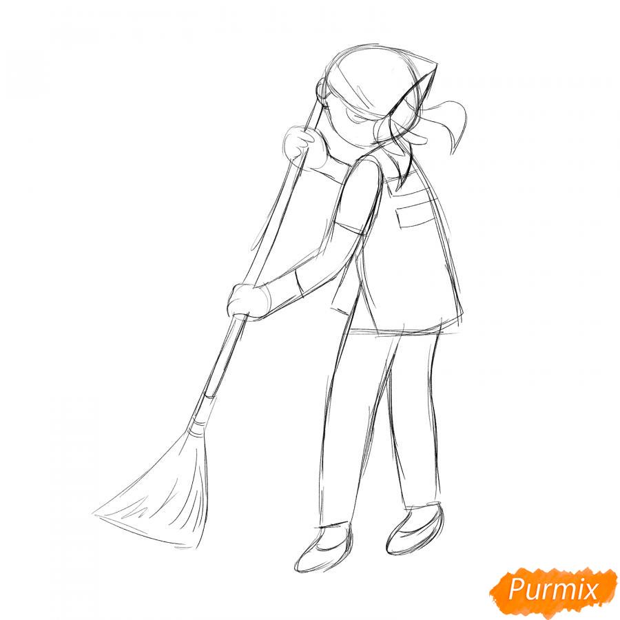 Рисуем дворника девушку - шаг 3