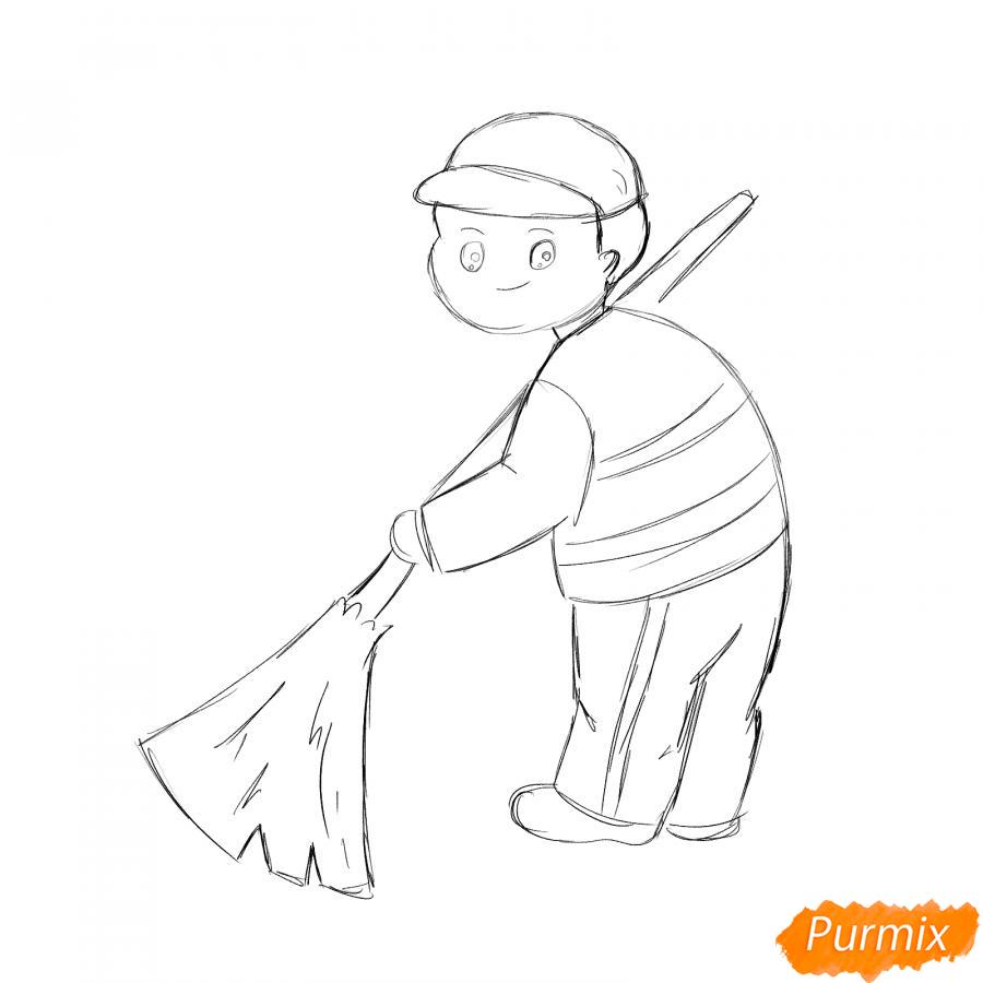 Рисуем дворника - шаг 4