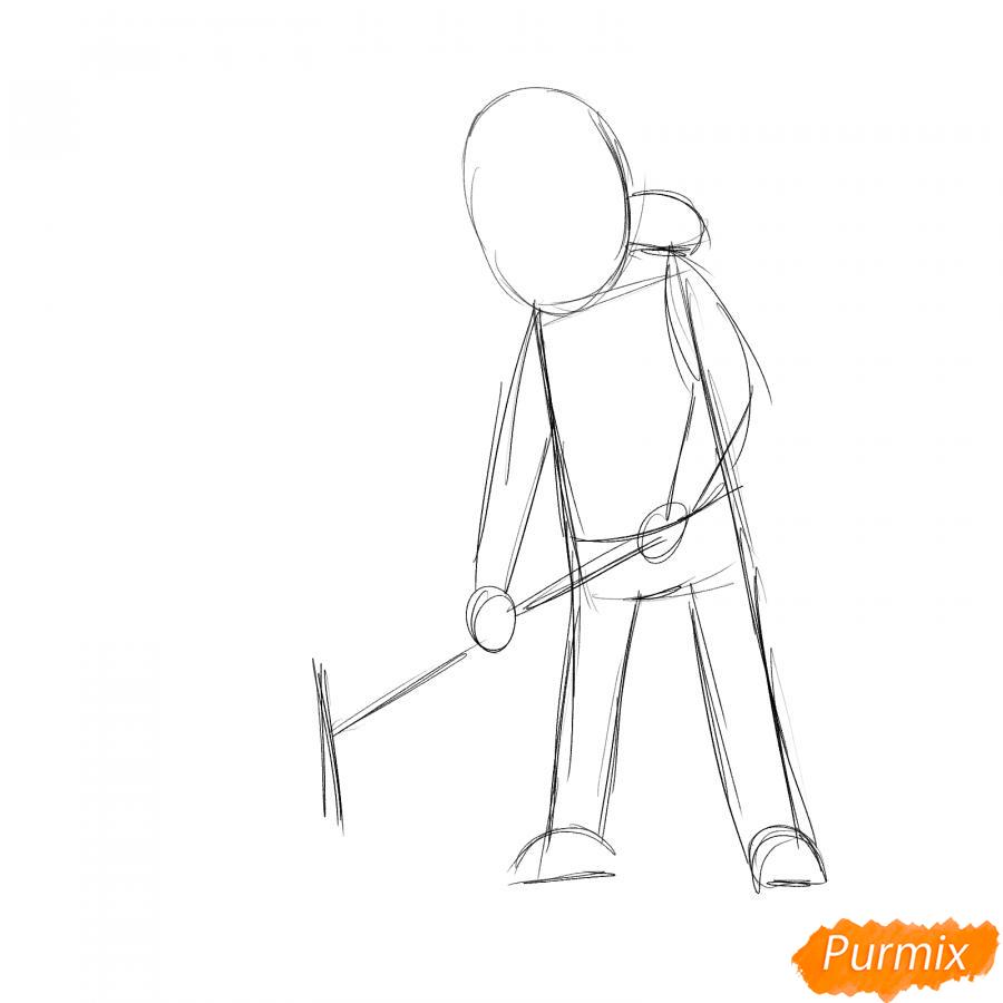 Рисуем дворника с лопатой зимой - шаг 2