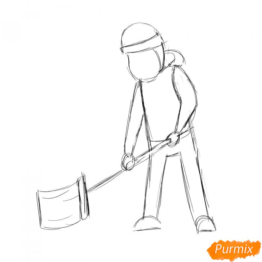 Рисуем дворника с лопатой зимой - шаг 3