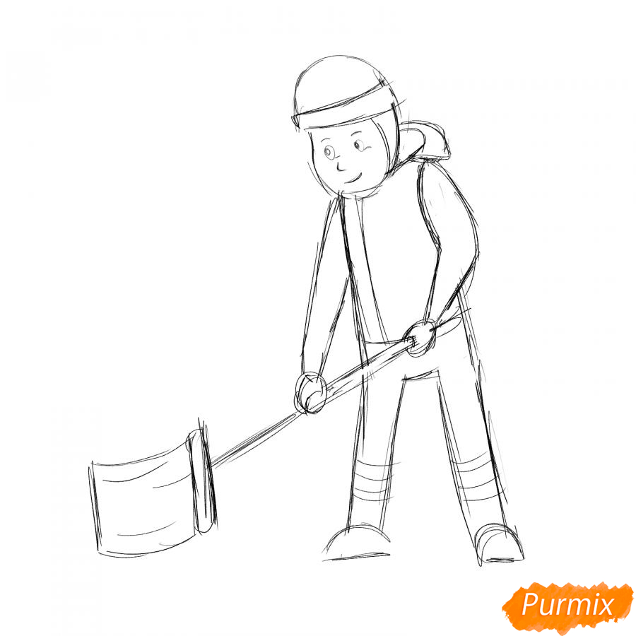 Рисуем дворника с лопатой зимой - шаг 4