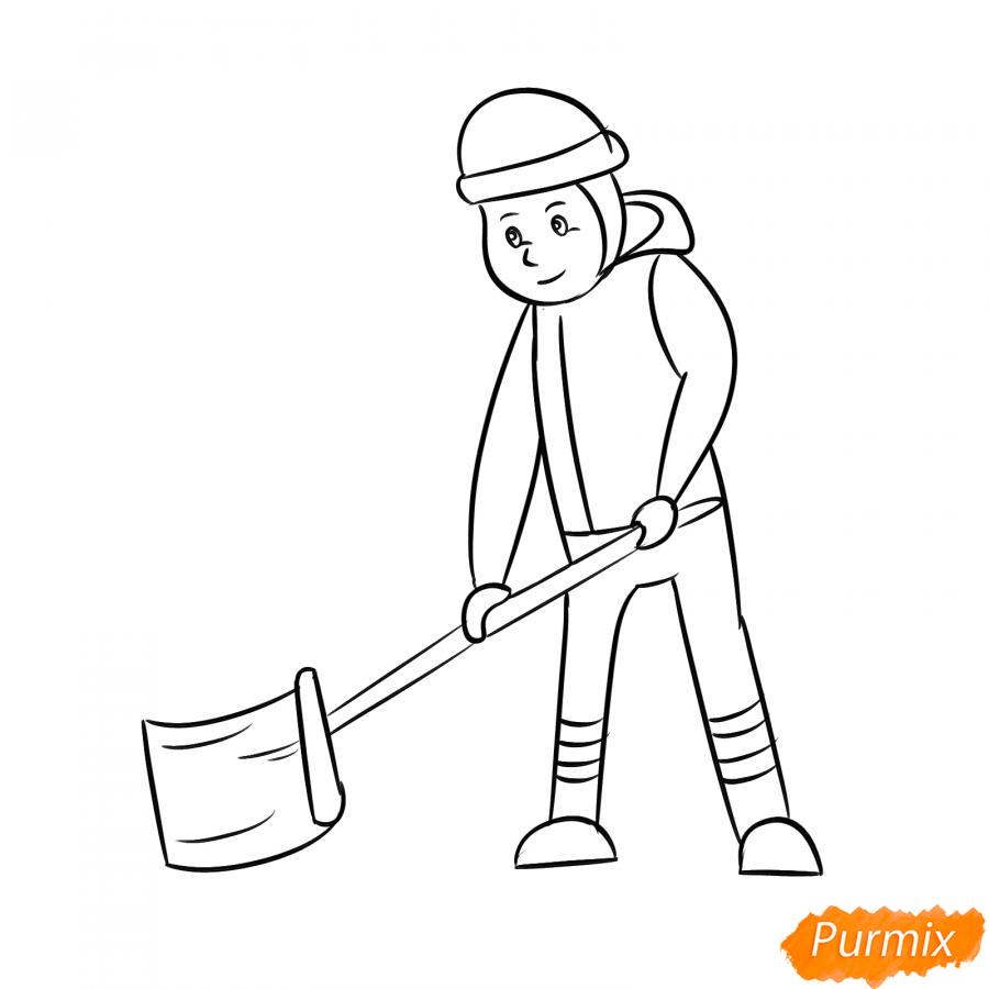 Рисуем дворника с лопатой зимой - шаг 5