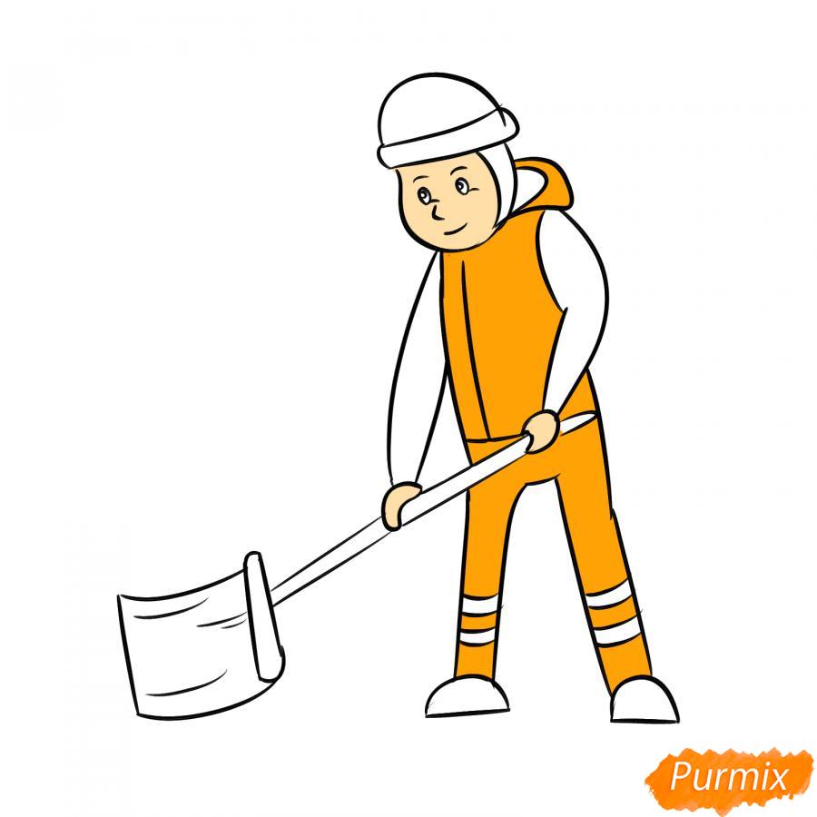 Рисуем дворника с лопатой зимой - шаг 6
