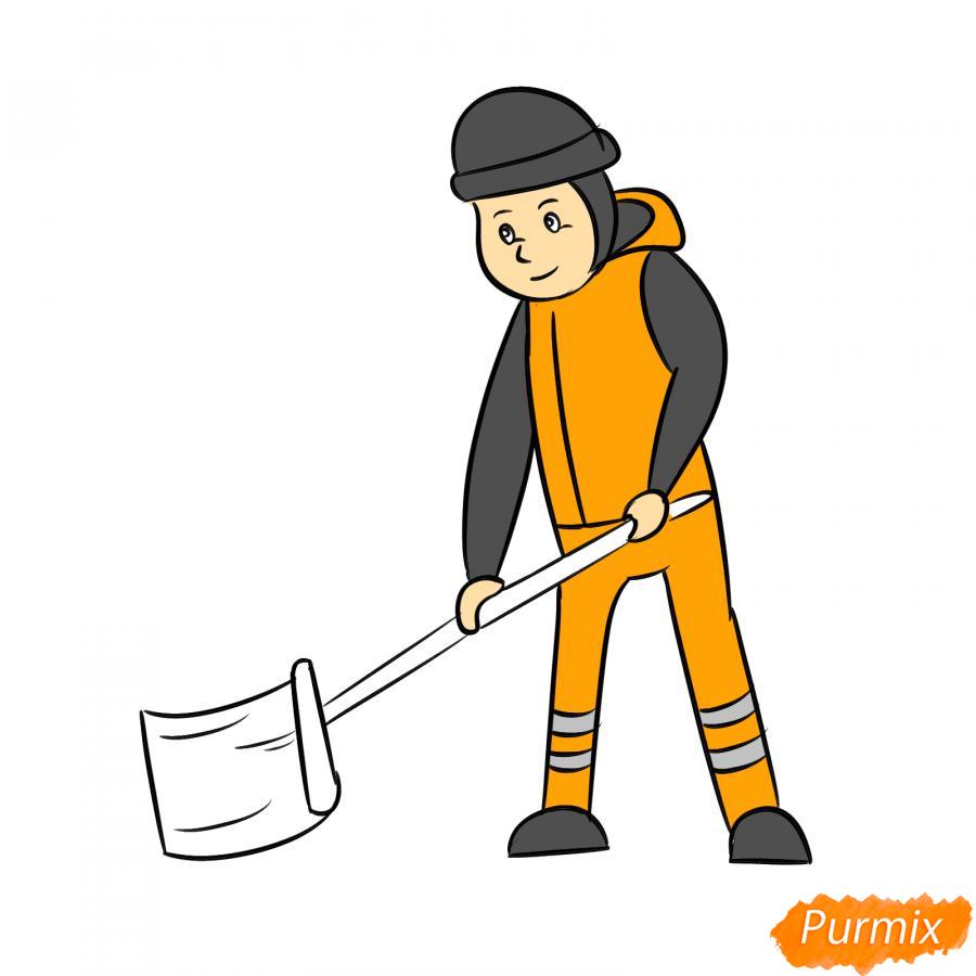 Рисуем дворника с лопатой зимой - шаг 7