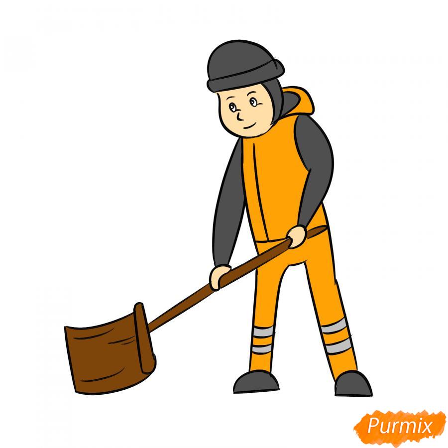 Рисуем дворника с лопатой зимой - шаг 8