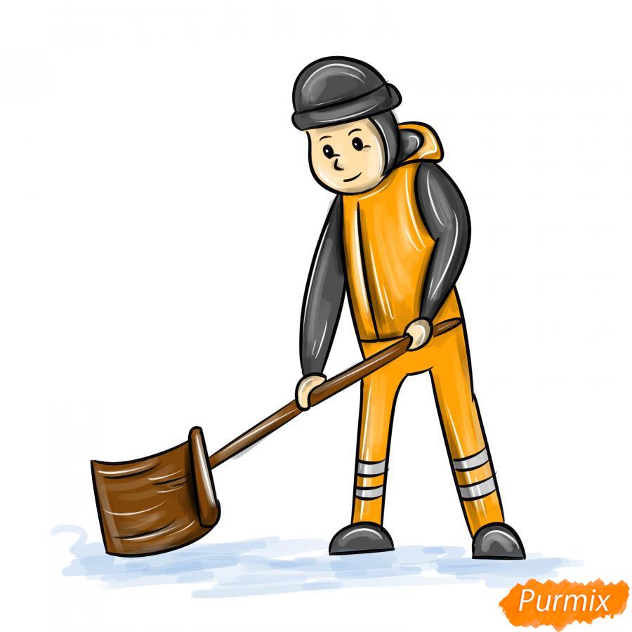 Рисуем дворника с лопатой зимой - шаг 9