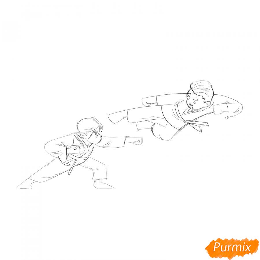 Рисуем двух каратистов - шаг 4