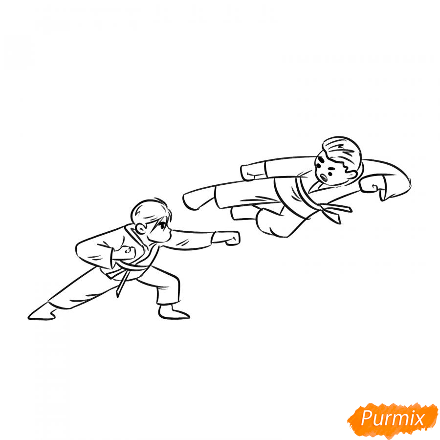 Рисуем двух каратистов - шаг 5