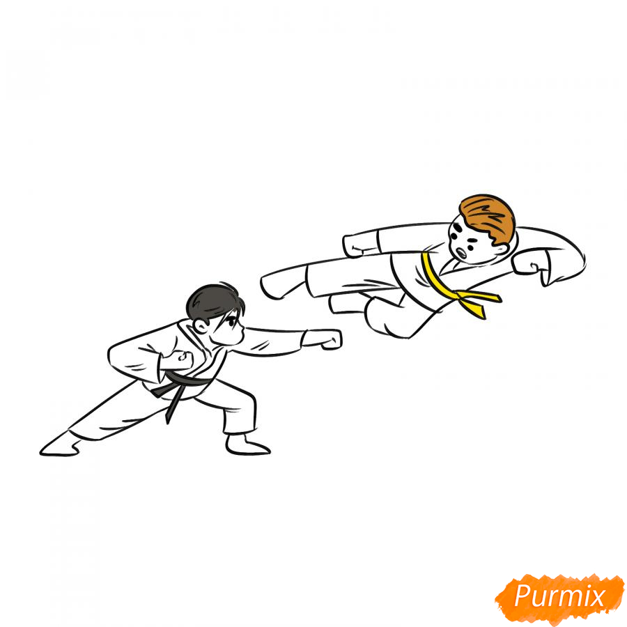 Рисуем двух каратистов - шаг 6