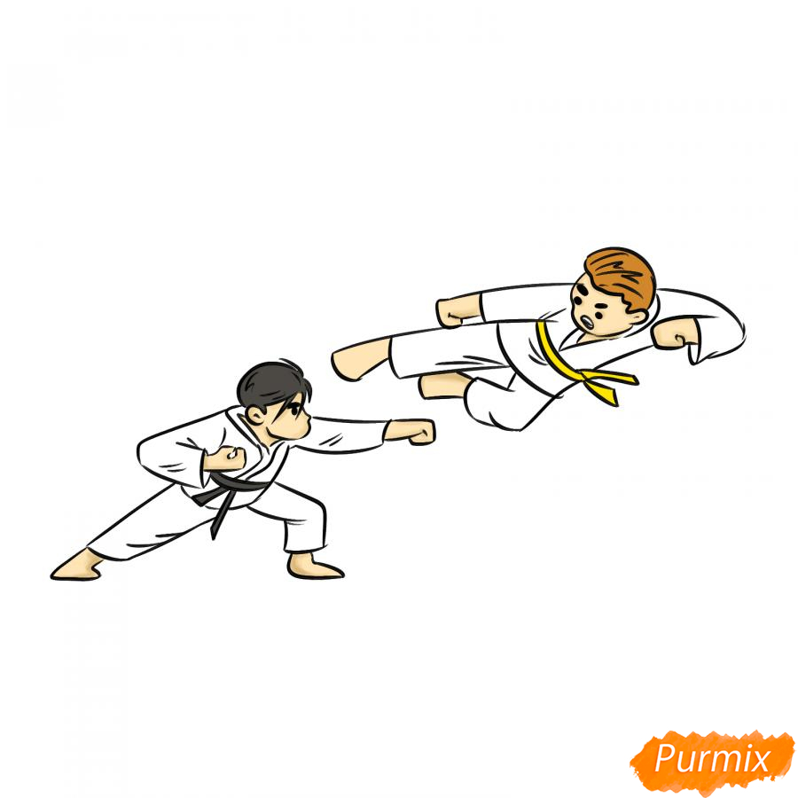Рисуем двух каратистов - шаг 7