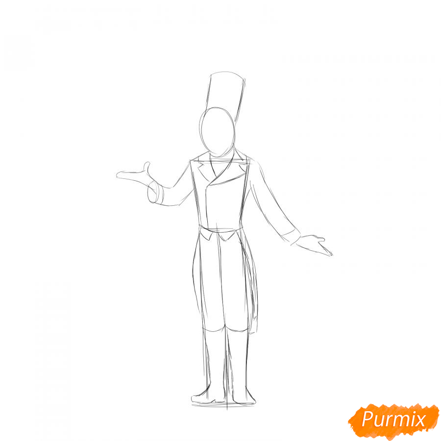 Рисуем фокусника цирка - шаг 3