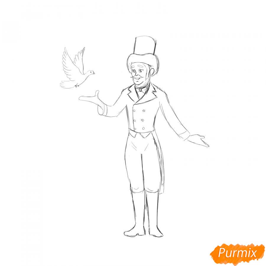 Рисуем фокусника цирка - шаг 5