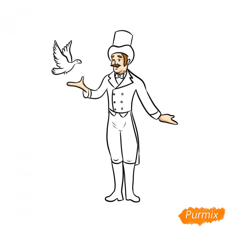 Рисуем фокусника цирка - шаг 7