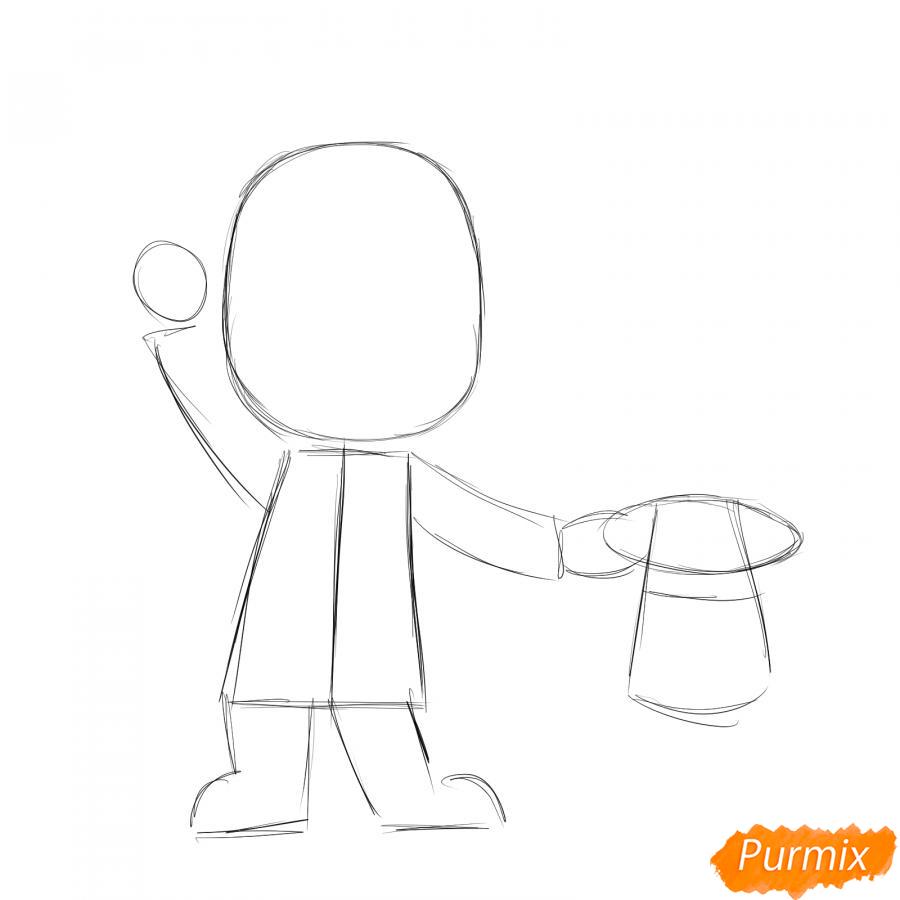 Рисуем фокусника - шаг 2