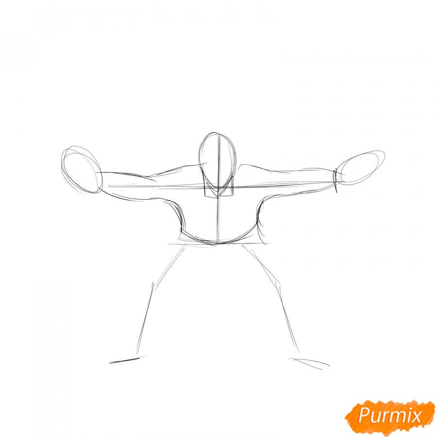 Рисуем футбольного вратаря - шаг 2