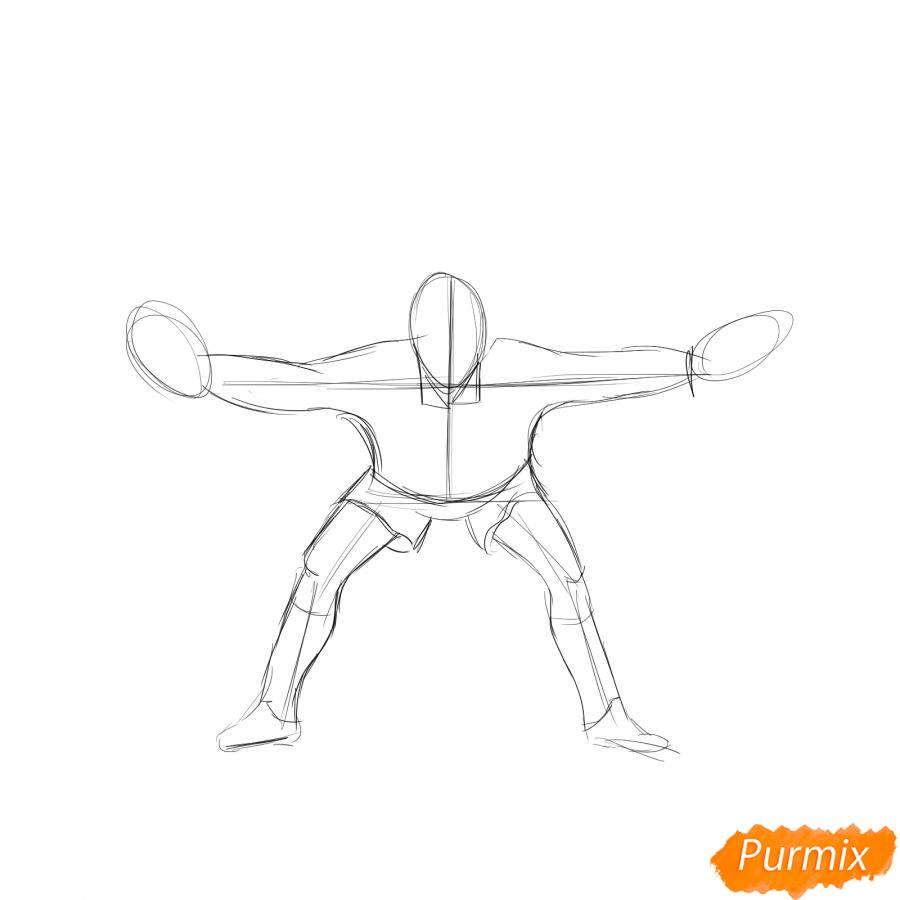 Рисуем футбольного вратаря - шаг 3