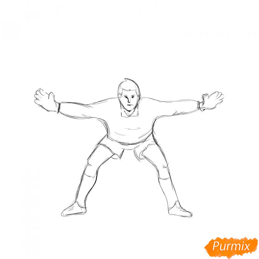 Рисуем футбольного вратаря - шаг 4