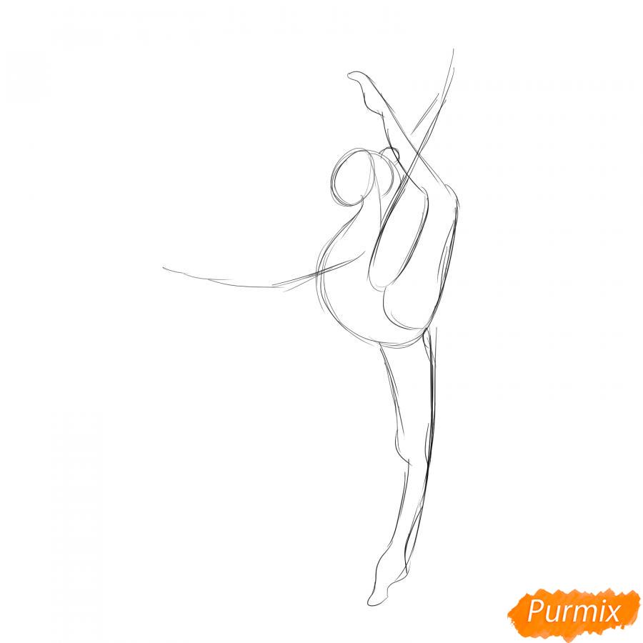 Рисуем гимнастку на одной ноге с мячом - шаг 2