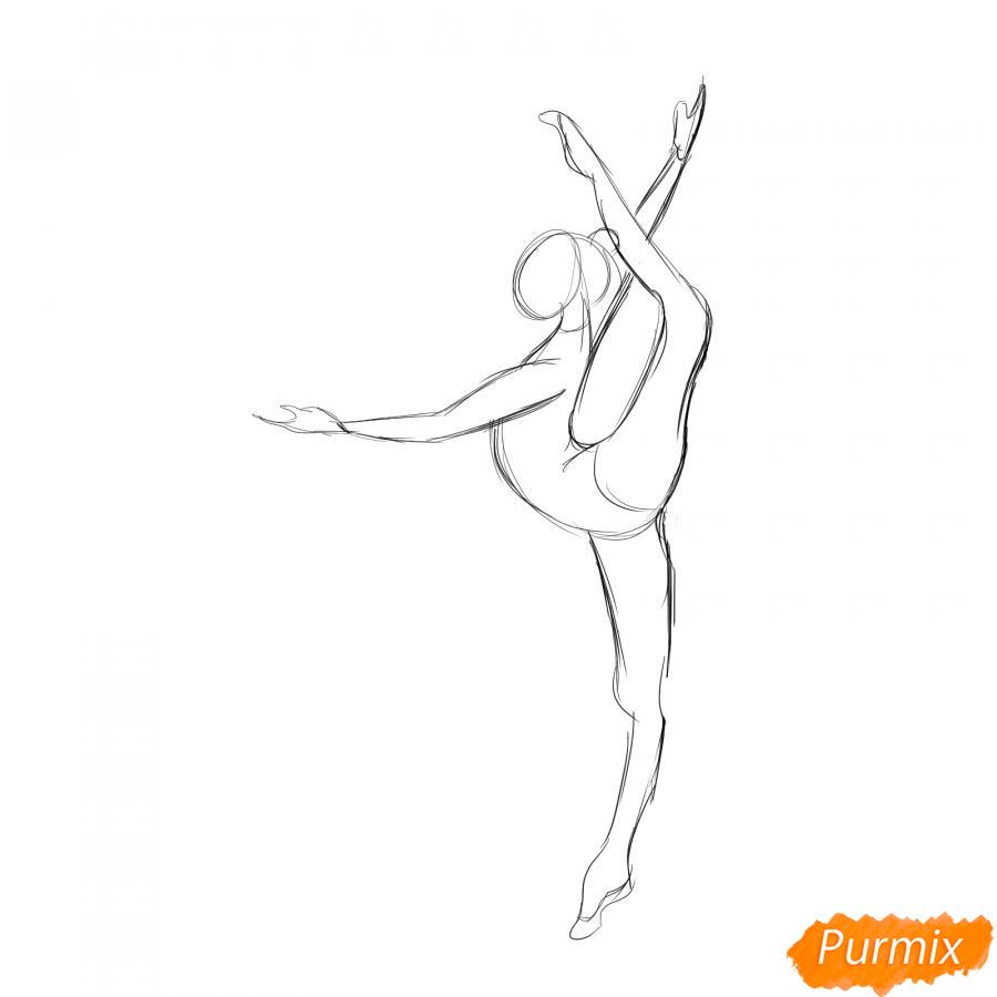 Рисуем гимнастку на одной ноге с мячом - шаг 3