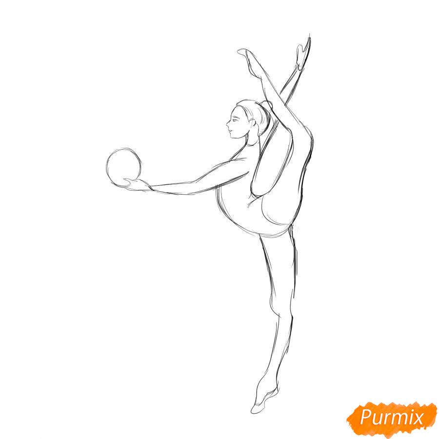 Рисуем гимнастку на одной ноге с мячом - шаг 4