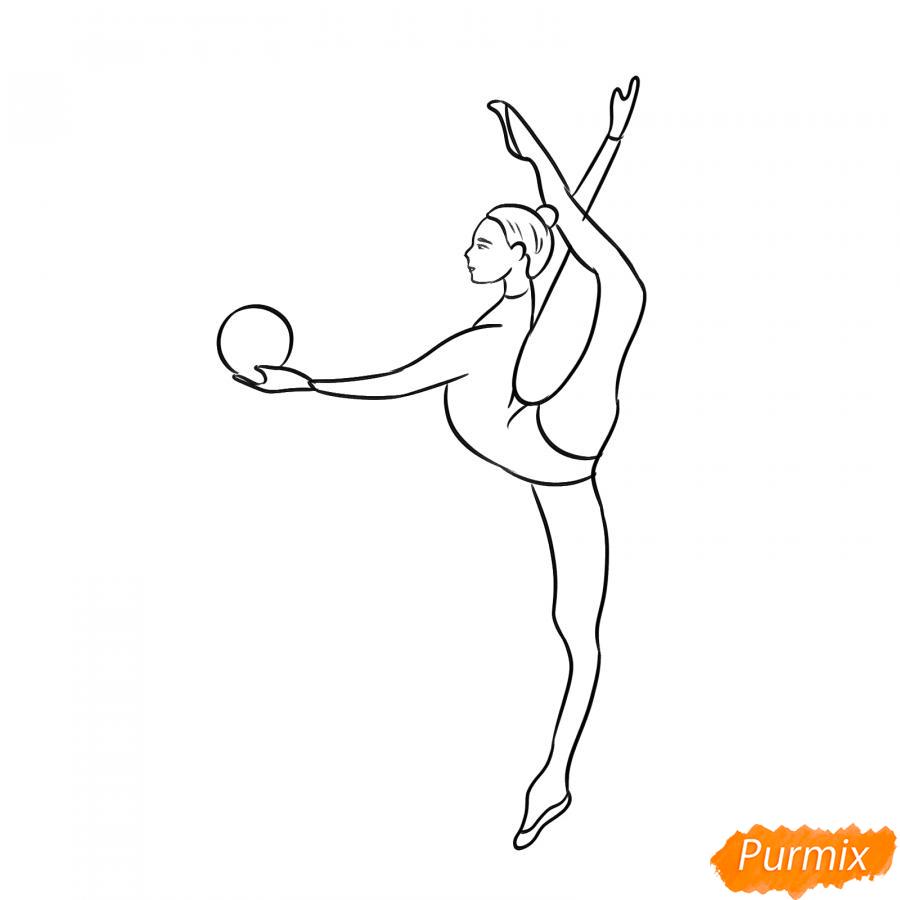 Рисуем гимнастку на одной ноге с мячом - шаг 5