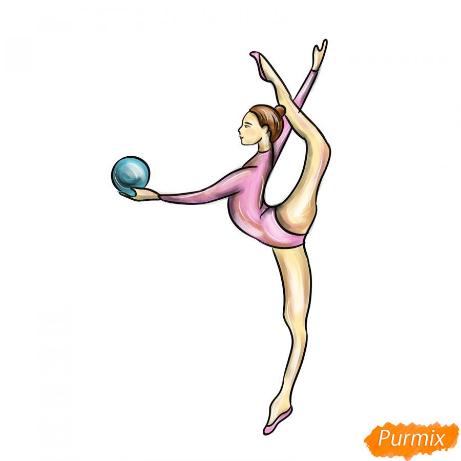 Рисуем гимнастку на одной ноге с мячом - шаг 8