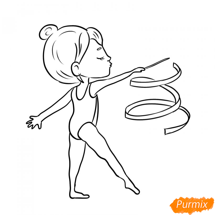 Рисуем гимнастку с лентой - шаг 7