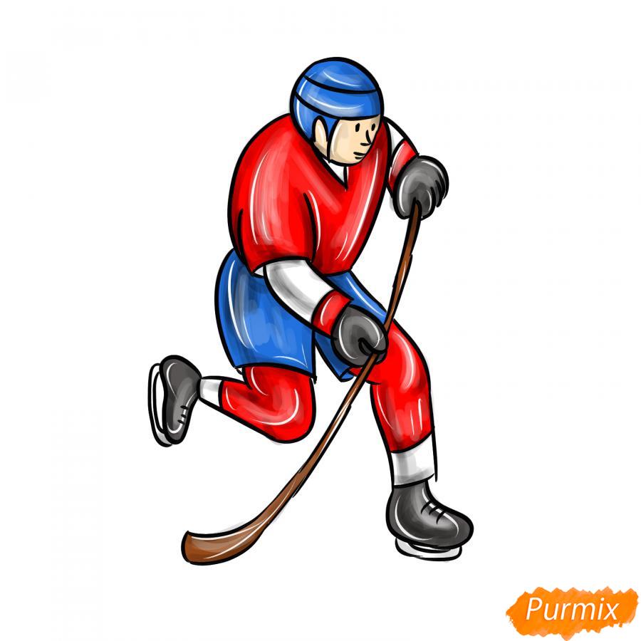 Рисуем хоккеиста - шаг 9