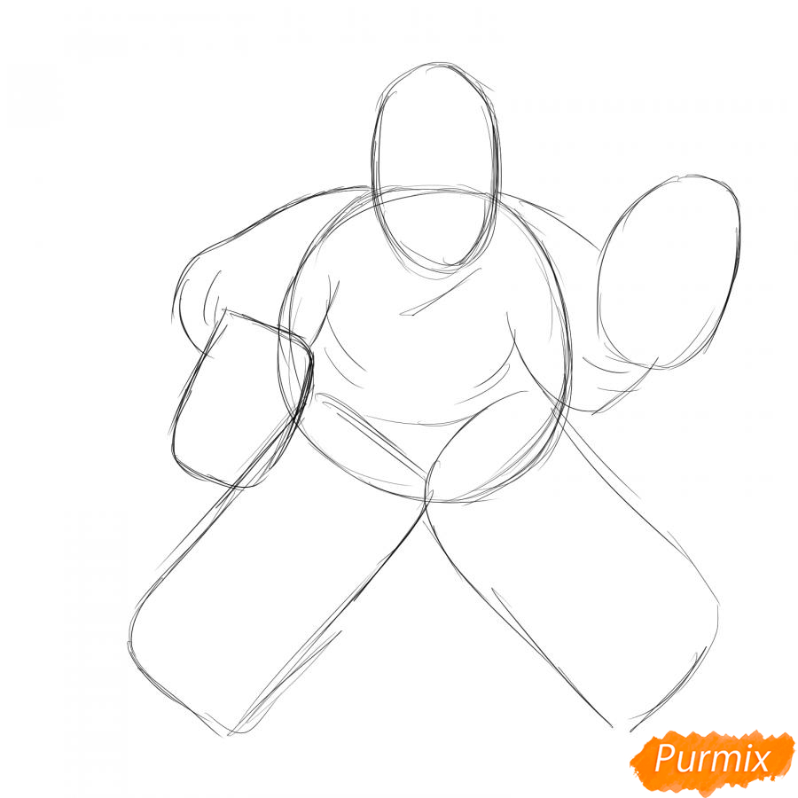 Рисуем хоккейного вратаря - шаг 2