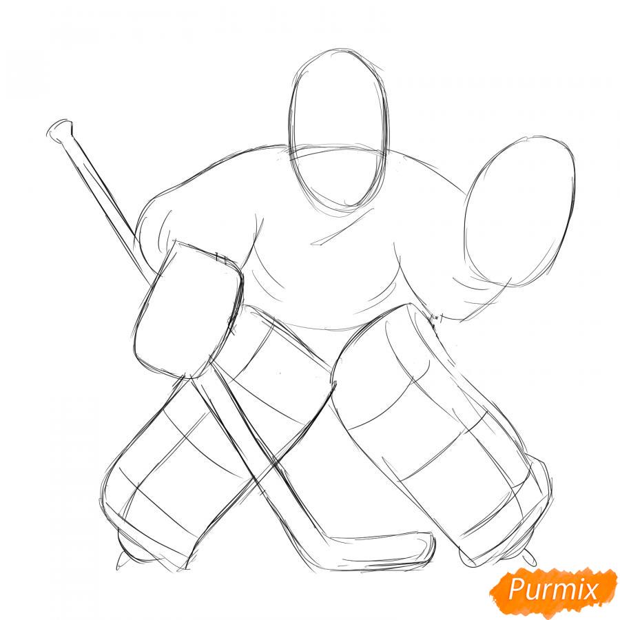 Рисуем хоккейного вратаря - шаг 3