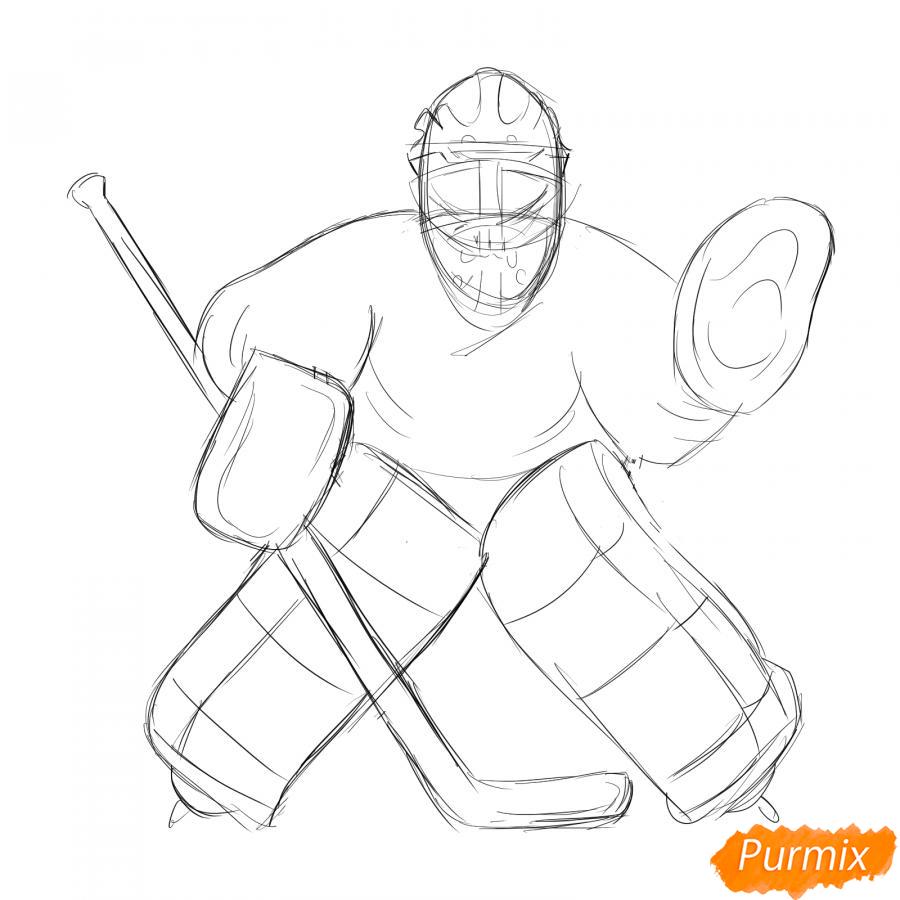 Рисуем хоккейного вратаря - шаг 4