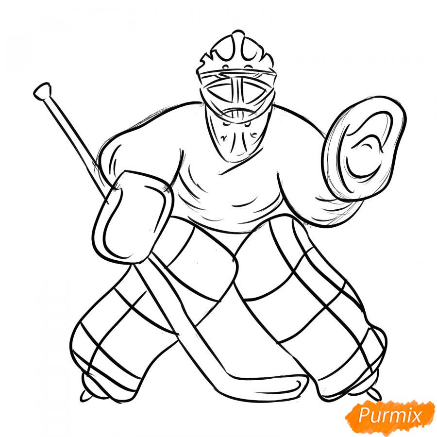 Рисуем хоккейного вратаря - шаг 5