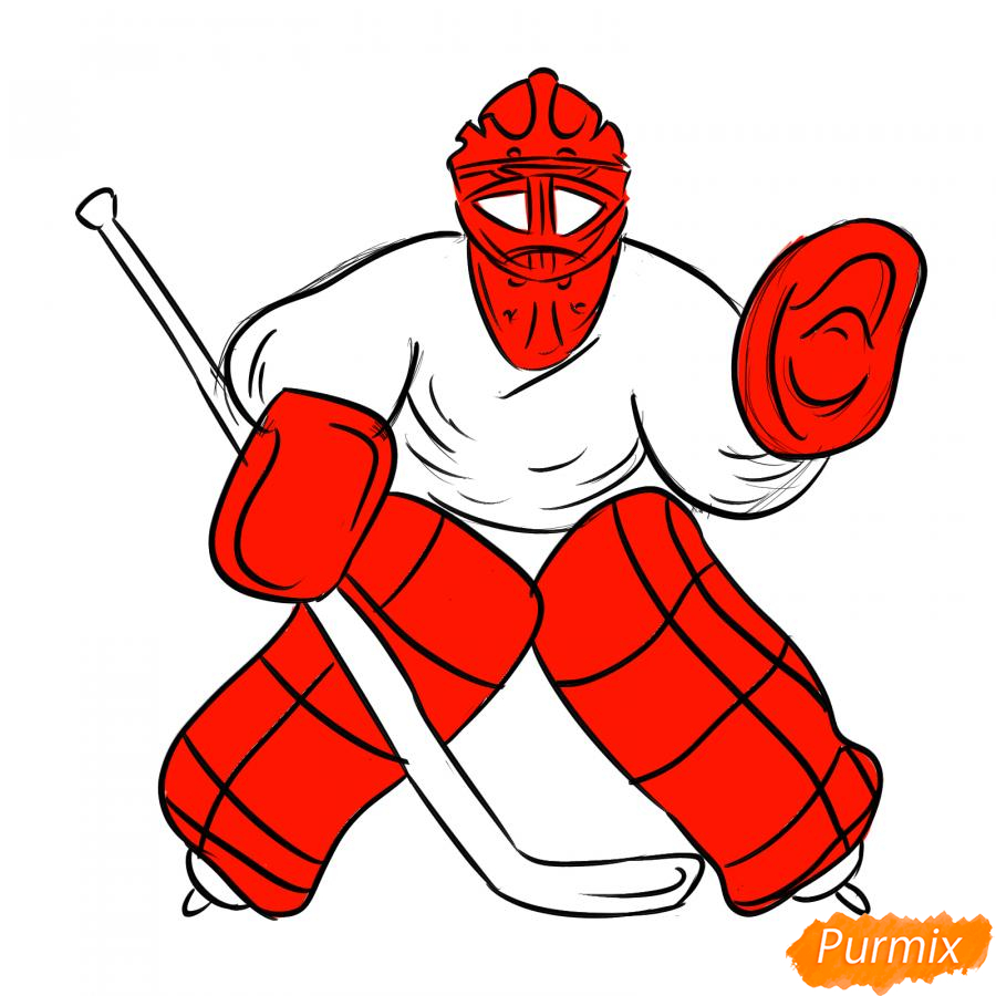 Рисуем хоккейного вратаря - шаг 6