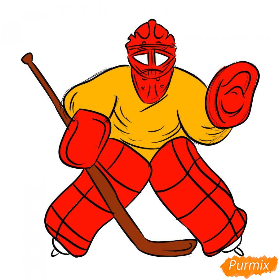 Рисуем хоккейного вратаря - шаг 7