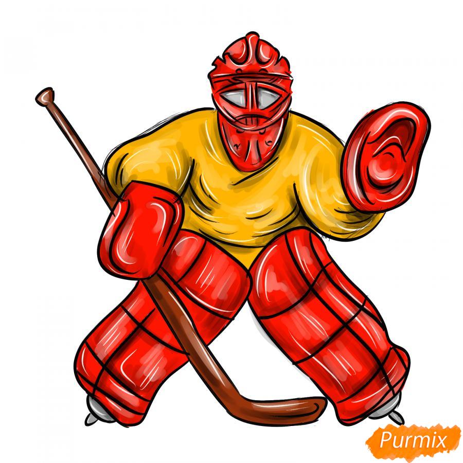Рисуем хоккейного вратаря - шаг 8
