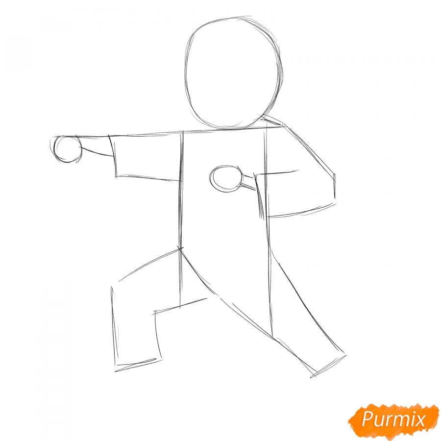 Рисуем каратиста карандашами - шаг 2