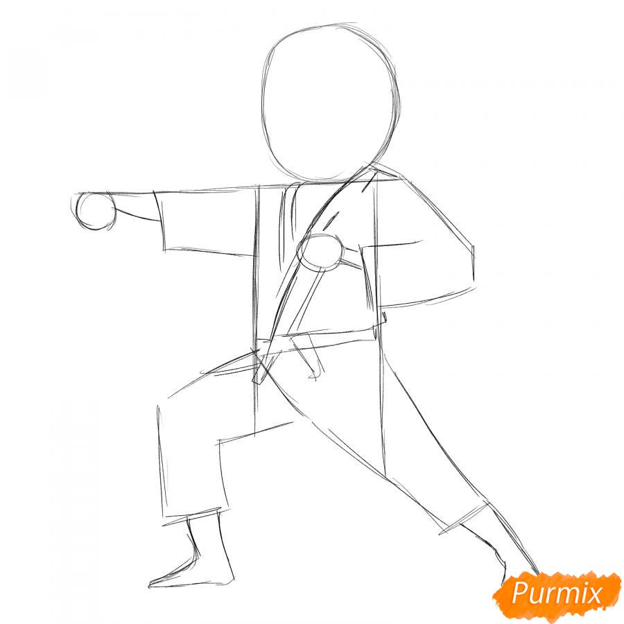Рисуем каратиста карандашами - шаг 3